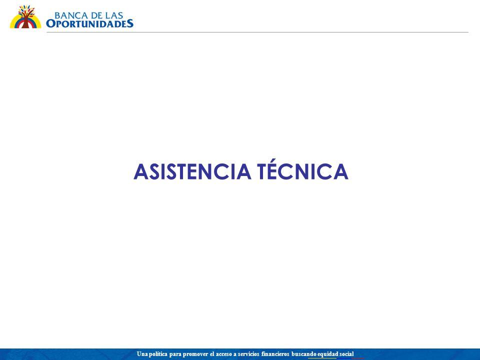 Una política para promover el acceso a servicios financieros buscando equidad social ASISTENCIA TÉCNICA