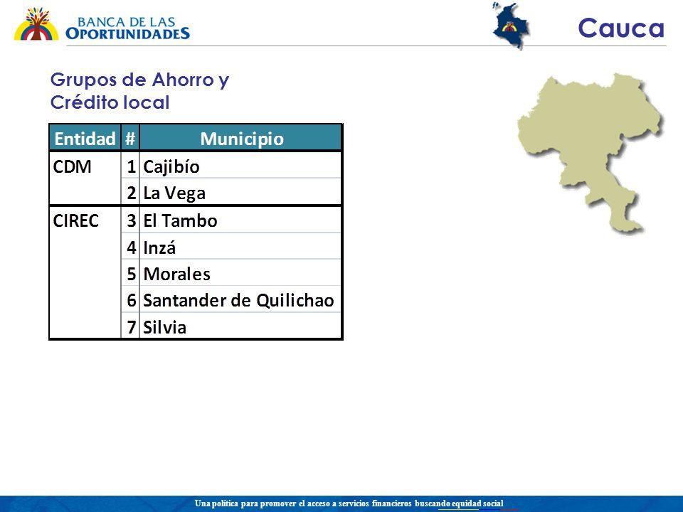 Una política para promover el acceso a servicios financieros buscando equidad social Cauca Grupos de Ahorro y Crédito local