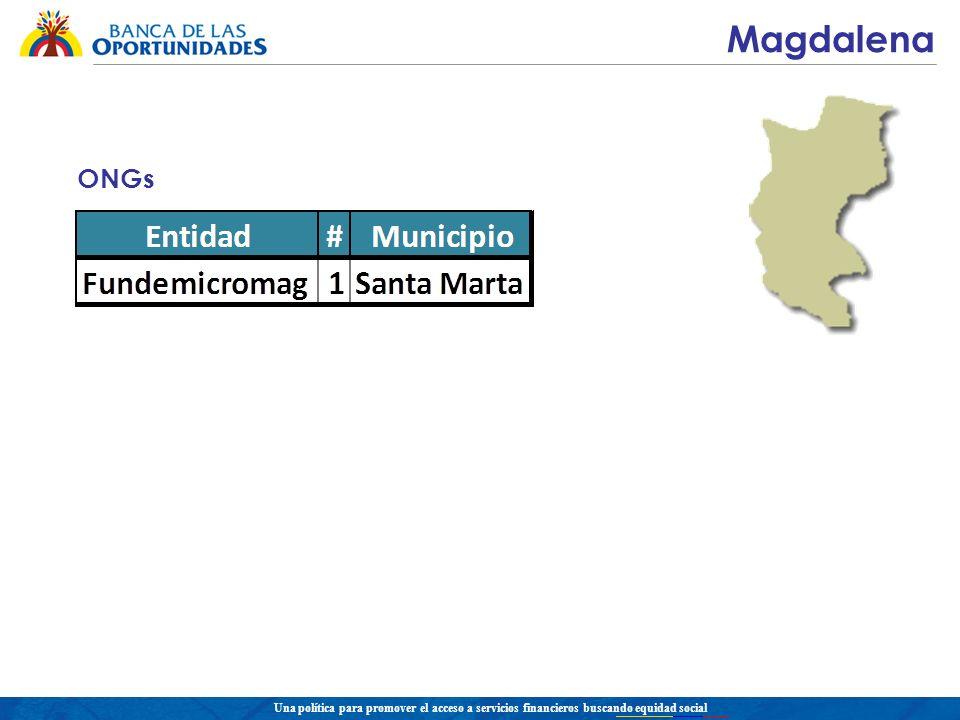 Una política para promover el acceso a servicios financieros buscando equidad social Magdalena ONGs