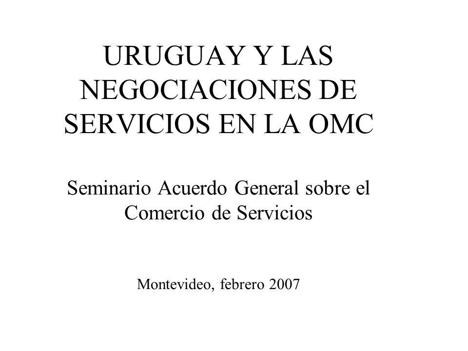 URUGUAY Y LAS NEGOCIACIONES DE SERVICIOS EN LA OMC Seminario Acuerdo General sobre el Comercio de Servicios Montevideo, febrero 2007