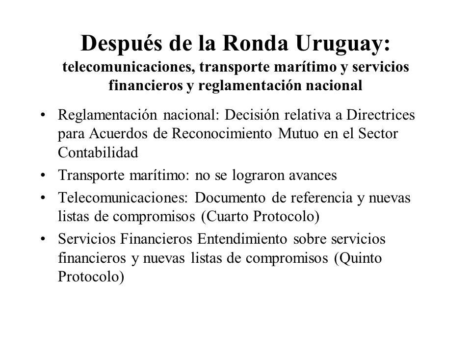 Después de la Ronda Uruguay: telecomunicaciones, transporte marítimo y servicios financieros y reglamentación nacional Reglamentación nacional: Decisión relativa a Directrices para Acuerdos de Reconocimiento Mutuo en el Sector Contabilidad Transporte marítimo: no se lograron avances Telecomunicaciones: Documento de referencia y nuevas listas de compromisos (Cuarto Protocolo) Servicios Financieros Entendimiento sobre servicios financieros y nuevas listas de compromisos (Quinto Protocolo)