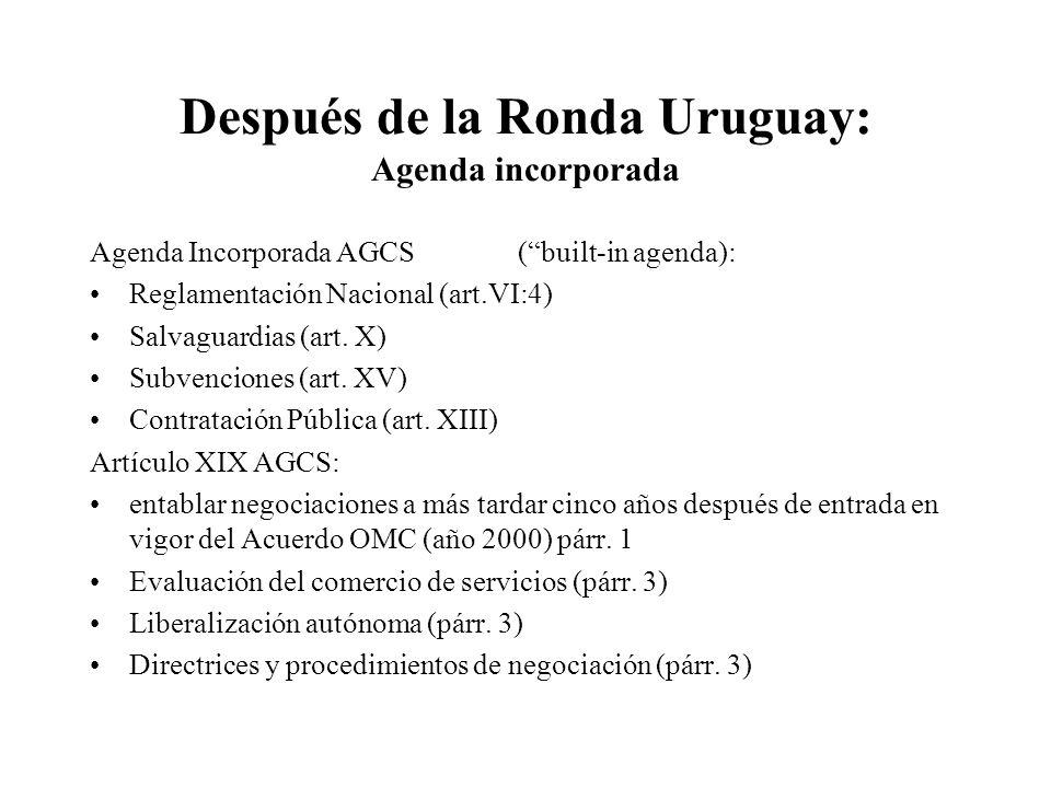 Después de la Ronda Uruguay: Agenda incorporada Agenda Incorporada AGCS (built-in agenda): Reglamentación Nacional (art.VI:4) Salvaguardias (art.