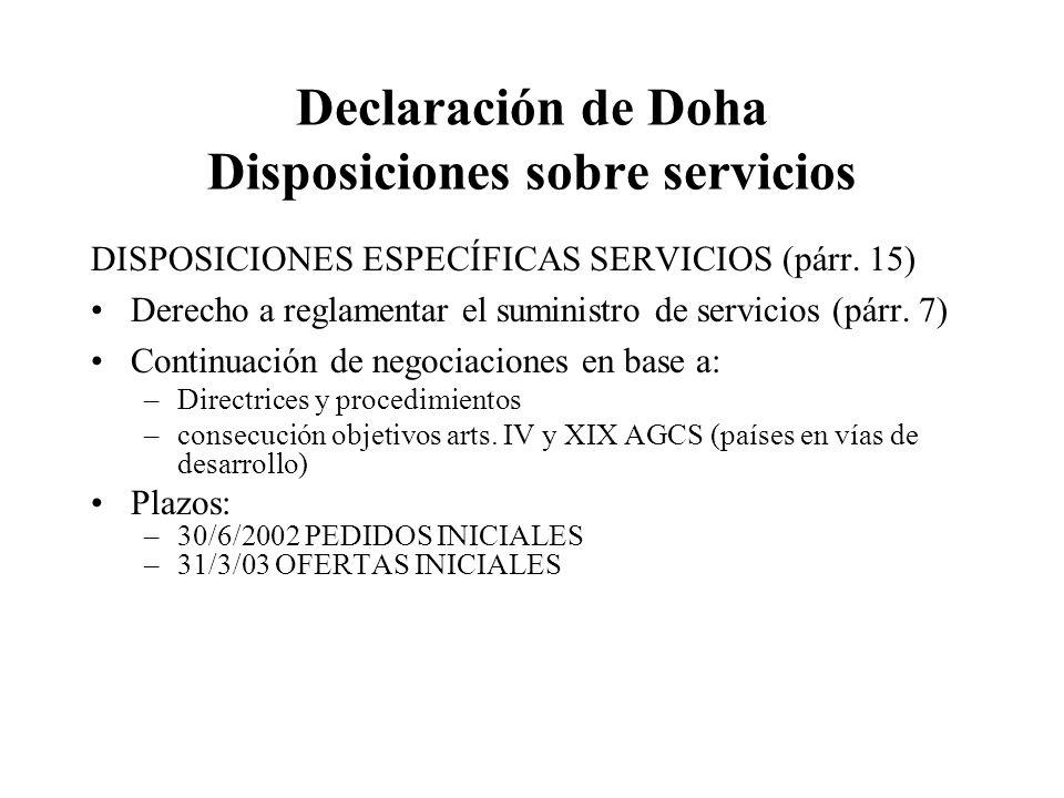 Declaración de Doha Disposiciones sobre servicios DISPOSICIONES ESPECÍFICAS SERVICIOS (párr.