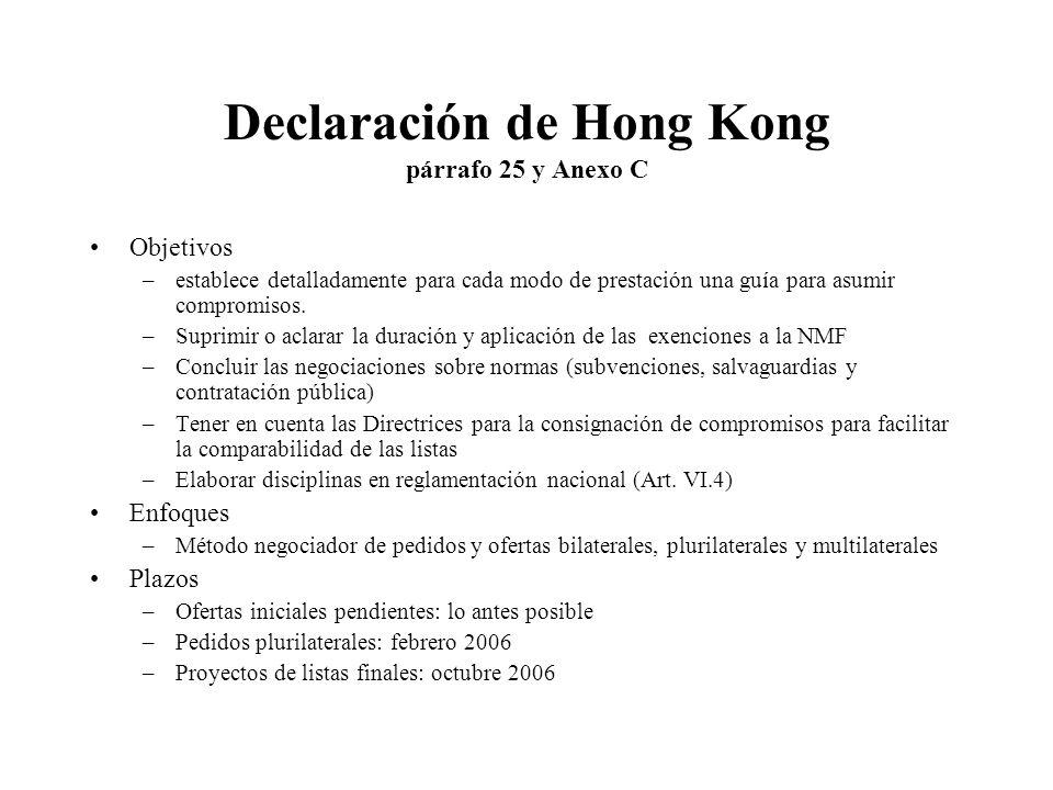 Declaración de Hong Kong párrafo 25 y Anexo C Objetivos –establece detalladamente para cada modo de prestación una guía para asumir compromisos.
