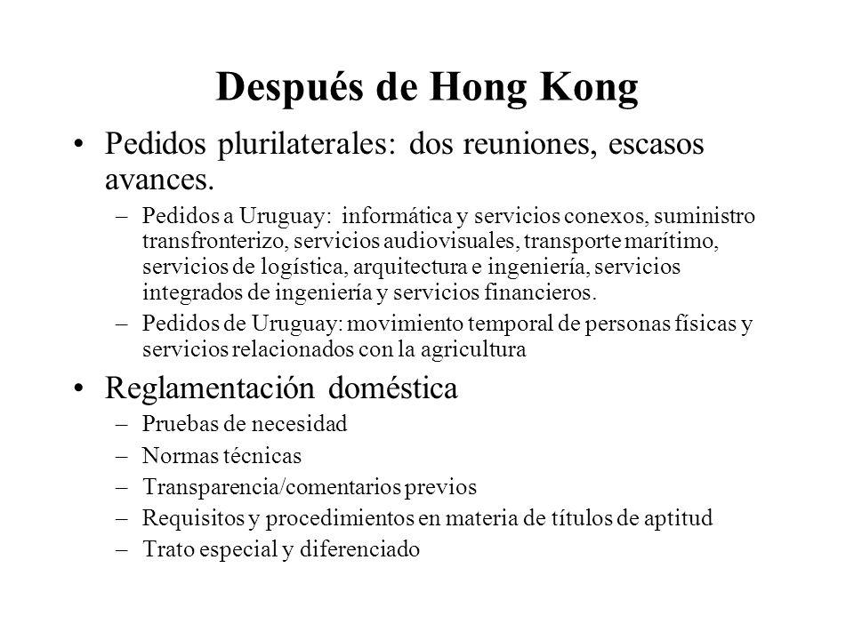 Después de Hong Kong Pedidos plurilaterales: dos reuniones, escasos avances.