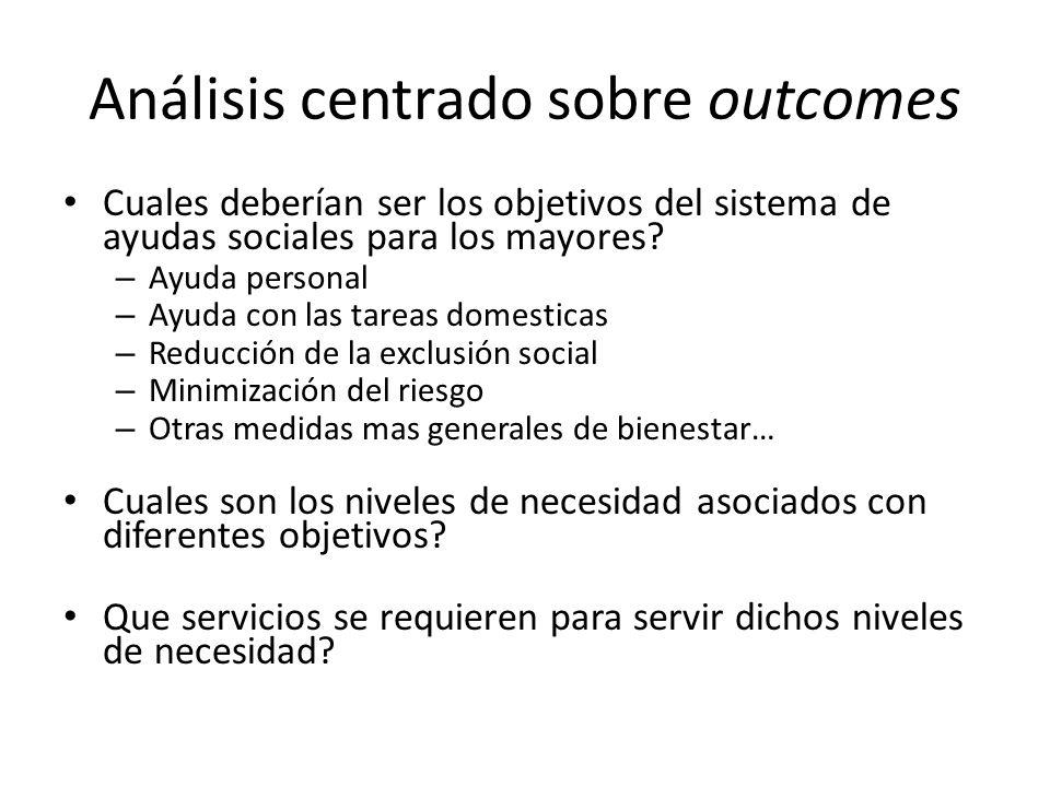 Análisis centrado sobre outcomes Cuales deberían ser los objetivos del sistema de ayudas sociales para los mayores.