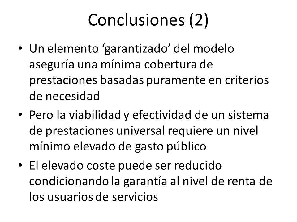 Conclusiones (2) Un elemento garantizado del modelo aseguría una mínima cobertura de prestaciones basadas puramente en criterios de necesidad Pero la viabilidad y efectividad de un sistema de prestaciones universal requiere un nivel mínimo elevado de gasto público El elevado coste puede ser reducido condicionando la garantía al nivel de renta de los usuarios de servicios