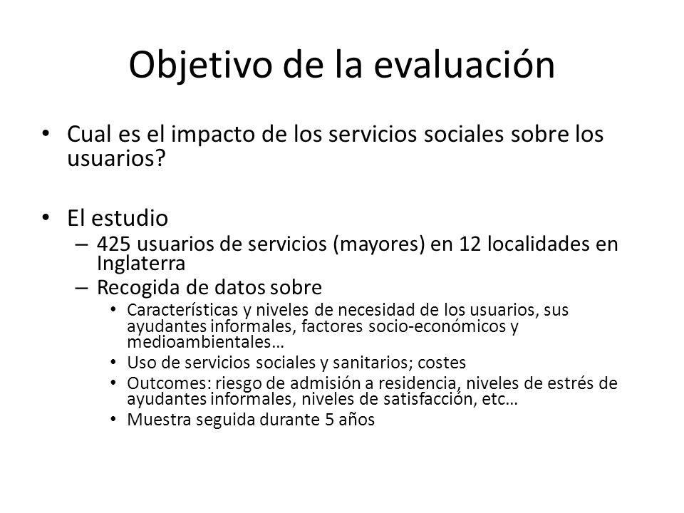 Objetivo de la evaluación Cual es el impacto de los servicios sociales sobre los usuarios.