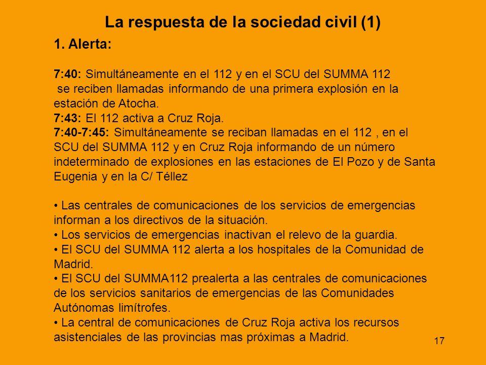 17 La respuesta de la sociedad civil (1) 1. Alerta: 7:40: Simultáneamente en el 112 y en el SCU del SUMMA 112 se reciben llamadas informando de una pr