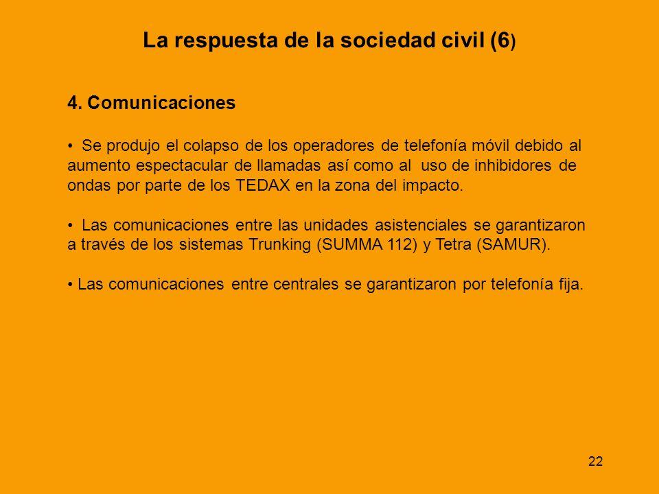 22 La respuesta de la sociedad civil (6 ) 4. Comunicaciones Se produjo el colapso de los operadores de telefonía móvil debido al aumento espectacular