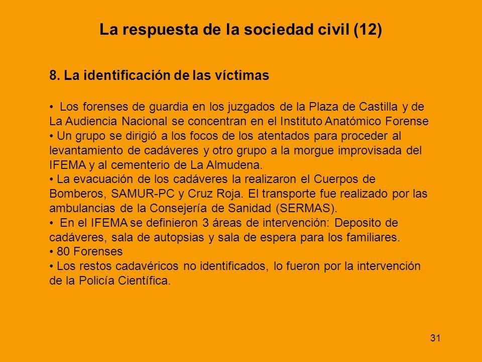 31 8. La identificación de las víctimas Los forenses de guardia en los juzgados de la Plaza de Castilla y de La Audiencia Nacional se concentran en el
