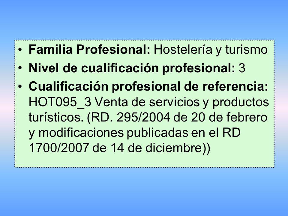 Familia Profesional: Hostelería y turismo Nivel de cualificación profesional: 3 Cualificación profesional de referencia: HOT095_3 Venta de servicios y productos turísticos.