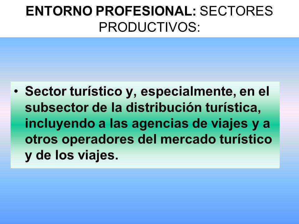 ENTORNO PROFESIONAL: SECTORES PRODUCTIVOS: Sector turístico y, especialmente, en el subsector de la distribución turística, incluyendo a las agencias de viajes y a otros operadores del mercado turístico y de los viajes.