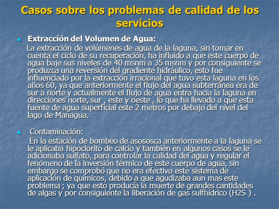 Casos sobre los problemas de calidad de los servicios Extracción del Volumen de Agua: Extracción del Volumen de Agua: La extracción de volúmenes de ag