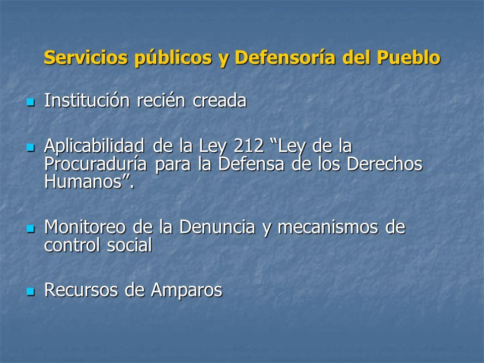 Servicios públicos y Defensoría del Pueblo Institución recién creada Institución recién creada Aplicabilidad de la Ley 212 Ley de la Procuraduría para