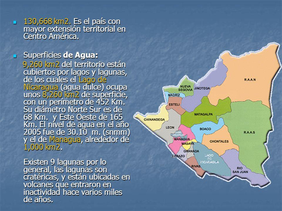 130,668 km2. Es el país con mayor extensión territorial en Centro América. 130,668 km2. Es el país con mayor extensión territorial en Centro América.