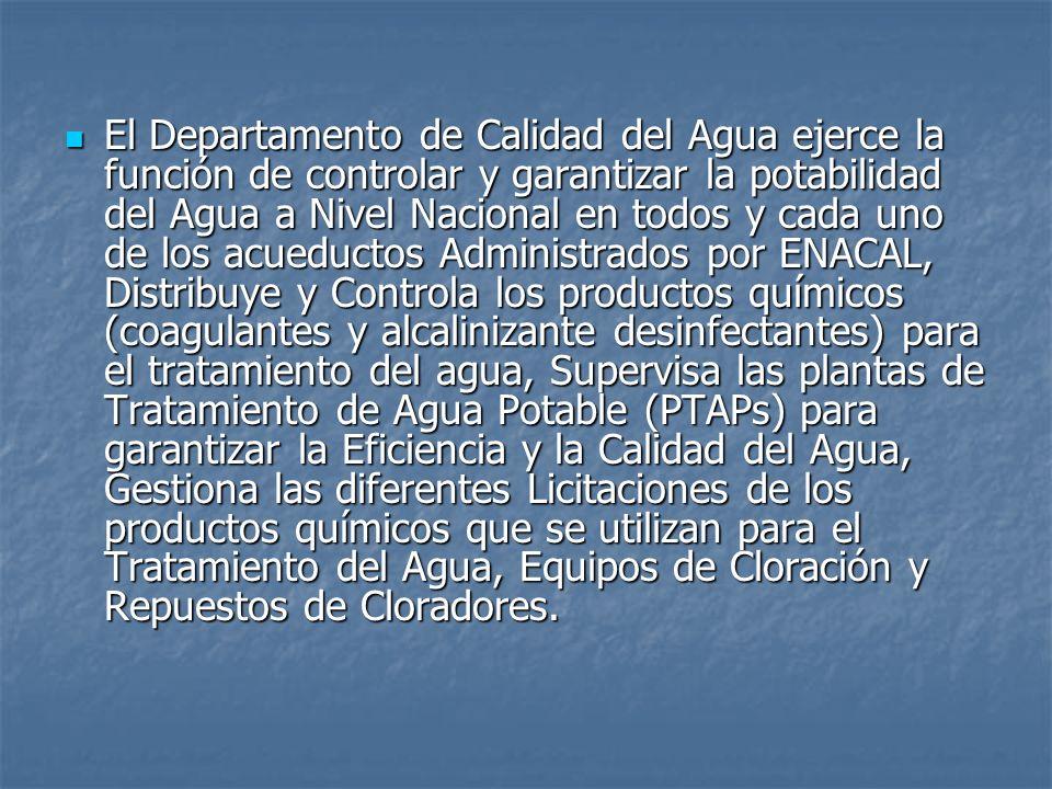 El Departamento de Calidad del Agua ejerce la función de controlar y garantizar la potabilidad del Agua a Nivel Nacional en todos y cada uno de los ac