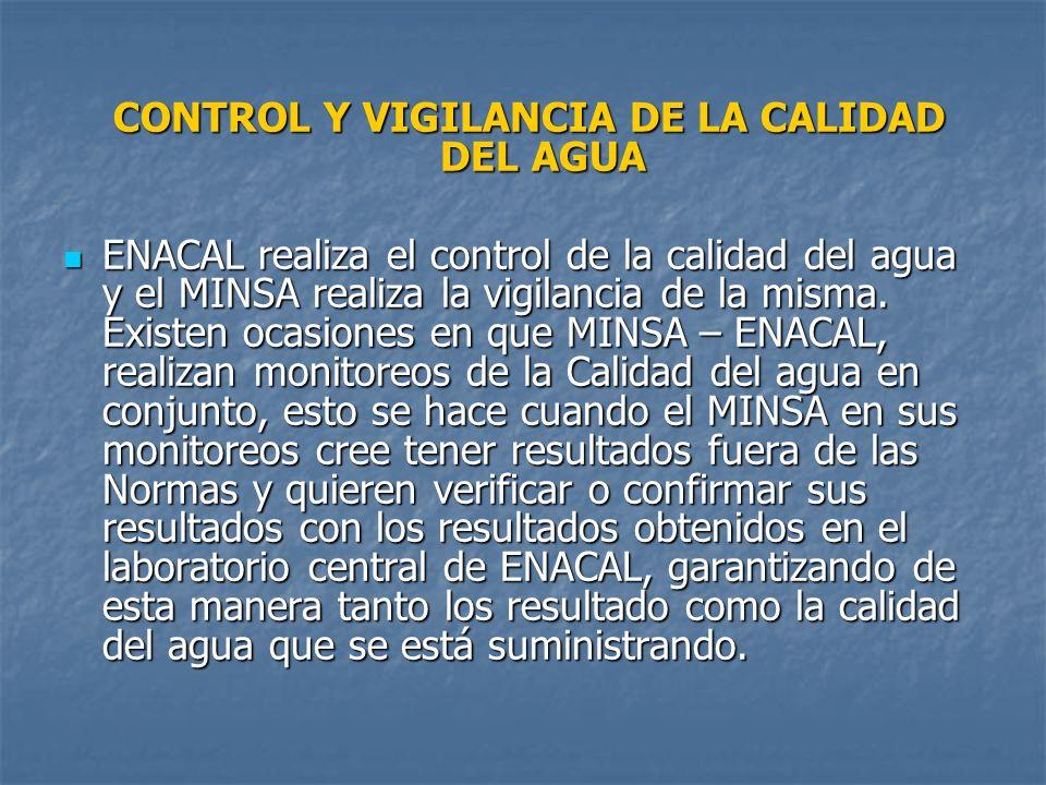 CONTROL Y VIGILANCIA DE LA CALIDAD DEL AGUA CONTROL Y VIGILANCIA DE LA CALIDAD DEL AGUA ENACAL realiza el control de la calidad del agua y el MINSA re