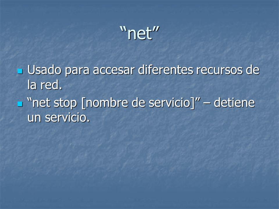 net Usado para accesar diferentes recursos de la red.