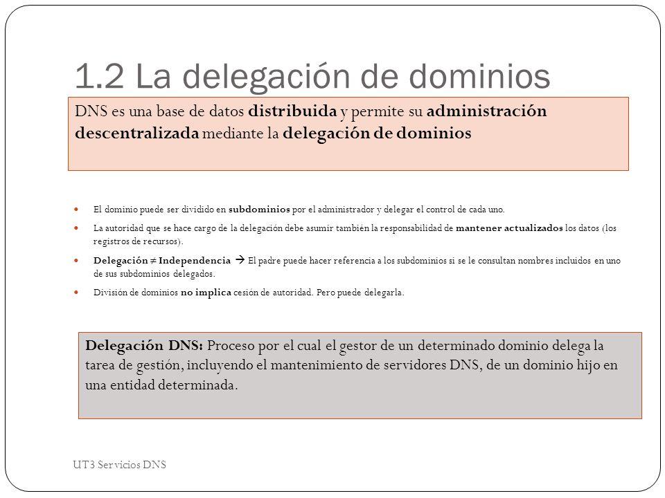 1.2 La delegación de dominios El dominio puede ser dividido en subdominios por el administrador y delegar el control de cada uno.