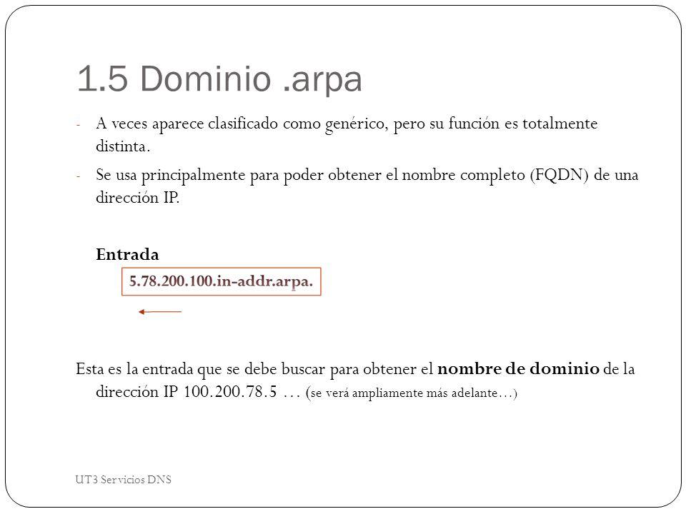 1.5 Dominio.arpa - A veces aparece clasificado como genérico, pero su función es totalmente distinta.