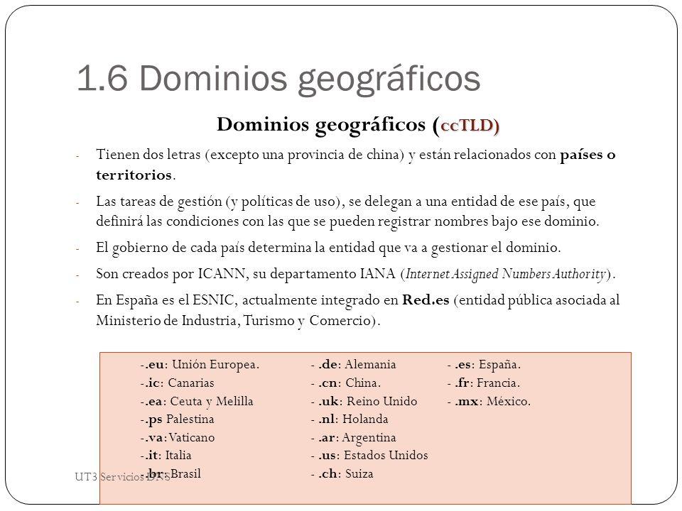 1.6 Dominios geográficos ccTLD) Dominios geográficos ( ccTLD) - Tienen dos letras (excepto una provincia de china) y están relacionados con países o territorios.