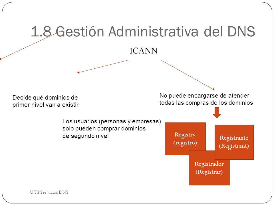 1.8 Gestión Administrativa del DNS ICANN Decide qué dominios de primer nivel van a existir.