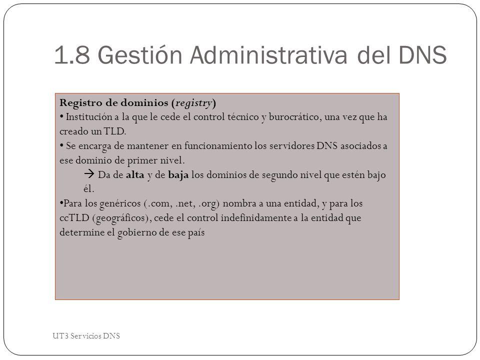 1.8 Gestión Administrativa del DNS Registro de dominios (registry) Institución a la que le cede el control técnico y burocrático, una vez que ha creado un TLD.