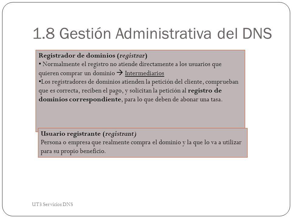 1.8 Gestión Administrativa del DNS Registrador de dominios (registrar) Normalmente el registro no atiende directamente a los usuarios que quieren comprar un dominio Intermediarios Los registradores de dominios atienden la petición del cliente, comprueban que es correcta, reciben el pago, y solicitan la petición al registro de dominios correspondiente, para lo que deben de abonar una tasa.