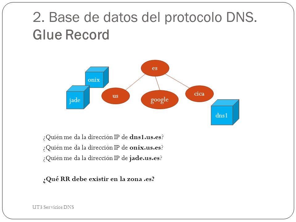 2. Base de datos del protocolo DNS. Glue Record ¿Quién me da la dirección IP de dns1.us.es.