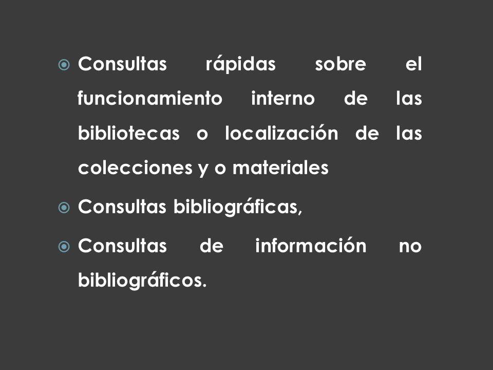 Consultas rápidas sobre el funcionamiento interno de las bibliotecas o localización de las colecciones y o materiales Consultas bibliográficas, Consul