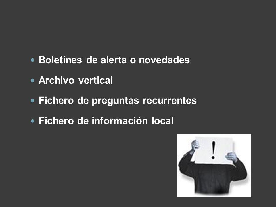 Boletines de alerta o novedades Archivo vertical Fichero de preguntas recurrentes Fichero de información local