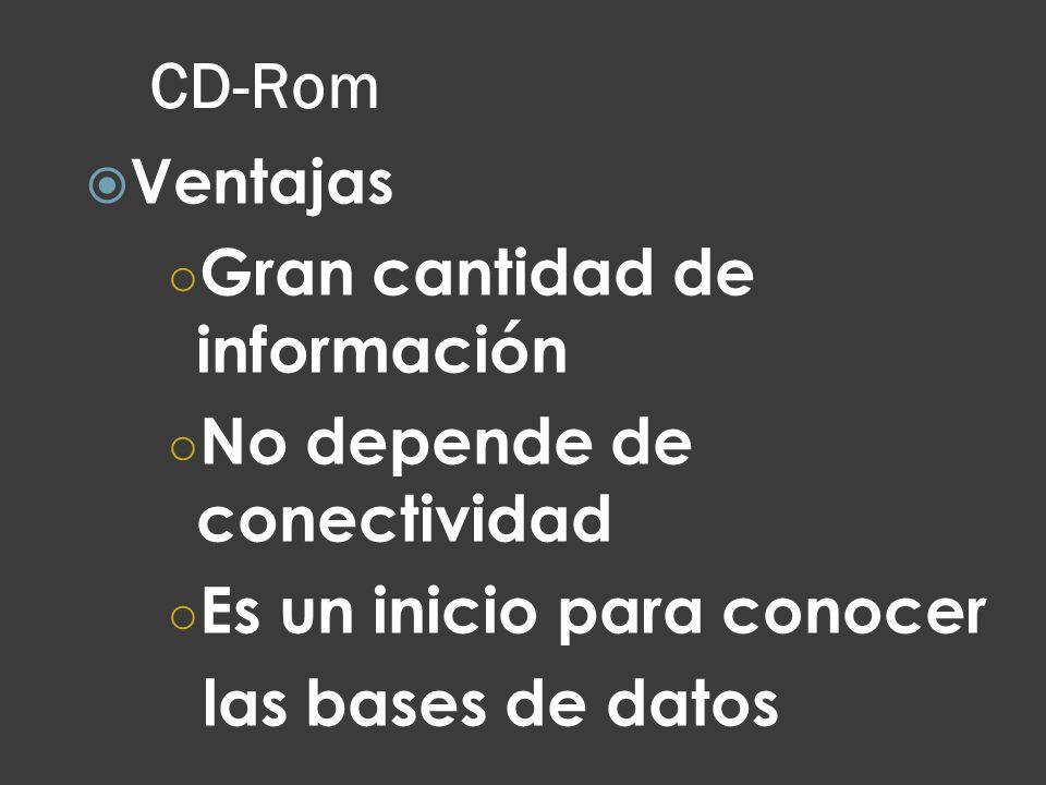 CD-Rom Ventajas Gran cantidad de información No depende de conectividad Es un inicio para conocer las bases de datos