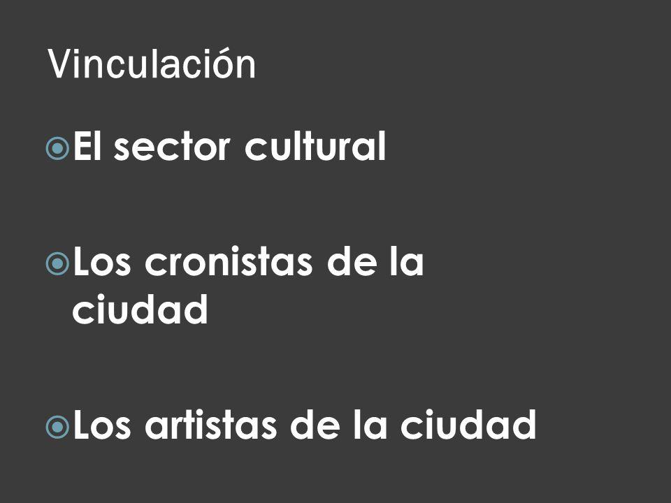 Vinculación El sector cultural Los cronistas de la ciudad Los artistas de la ciudad