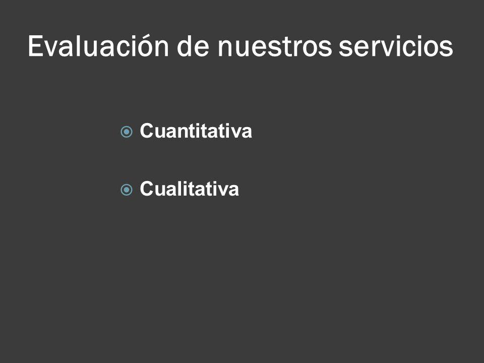 Evaluación de nuestros servicios Cuantitativa Cualitativa
