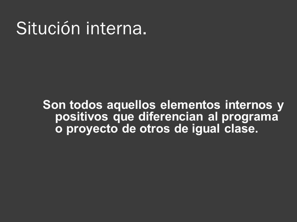 Situción interna. Son todos aquellos elementos internos y positivos que diferencian al programa o proyecto de otros de igual clase.