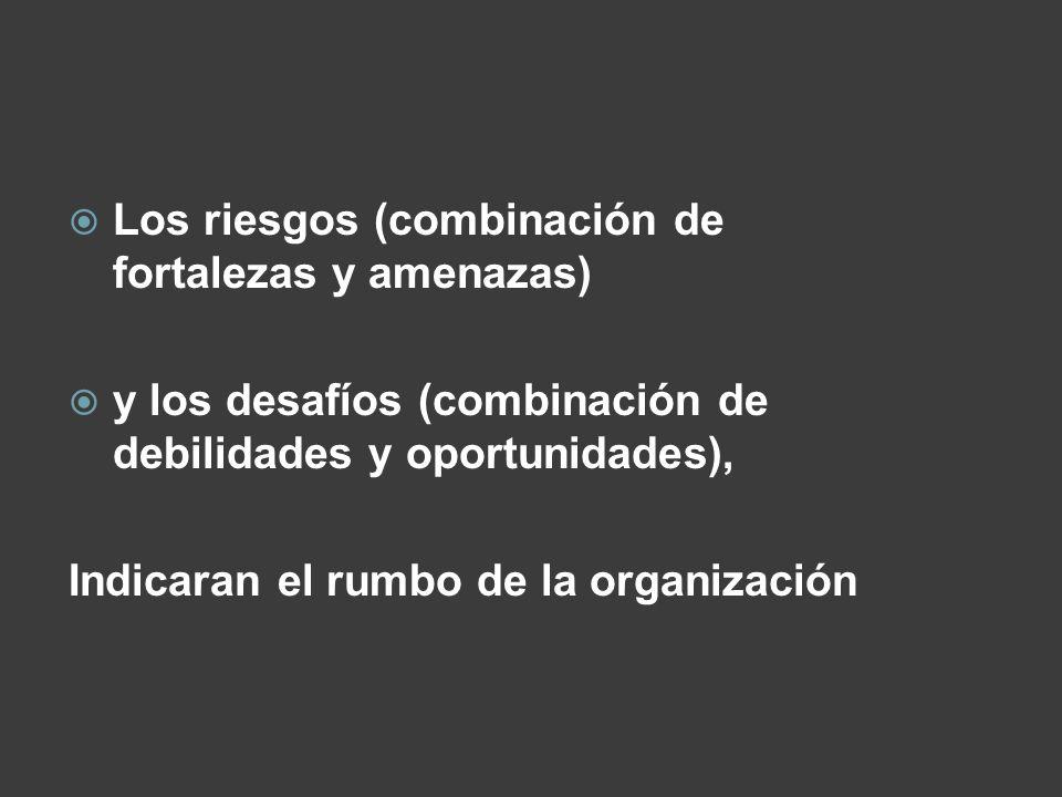 Los riesgos (combinación de fortalezas y amenazas) y los desafíos (combinación de debilidades y oportunidades), Indicaran el rumbo de la organización
