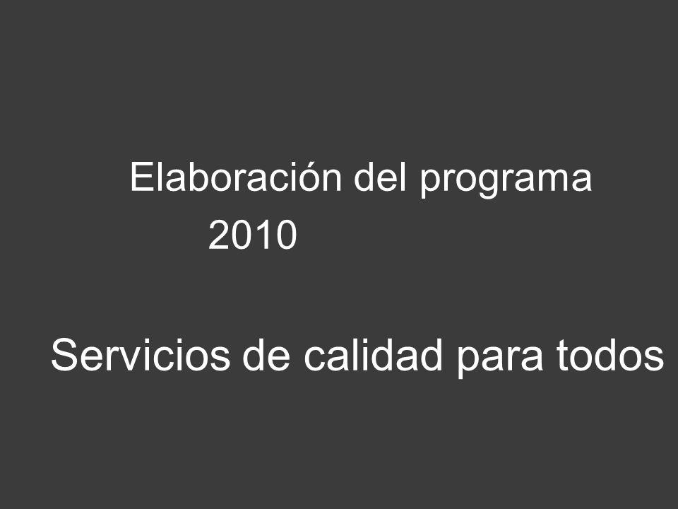 Elaboración del programa 2010 Servicios de calidad para todos