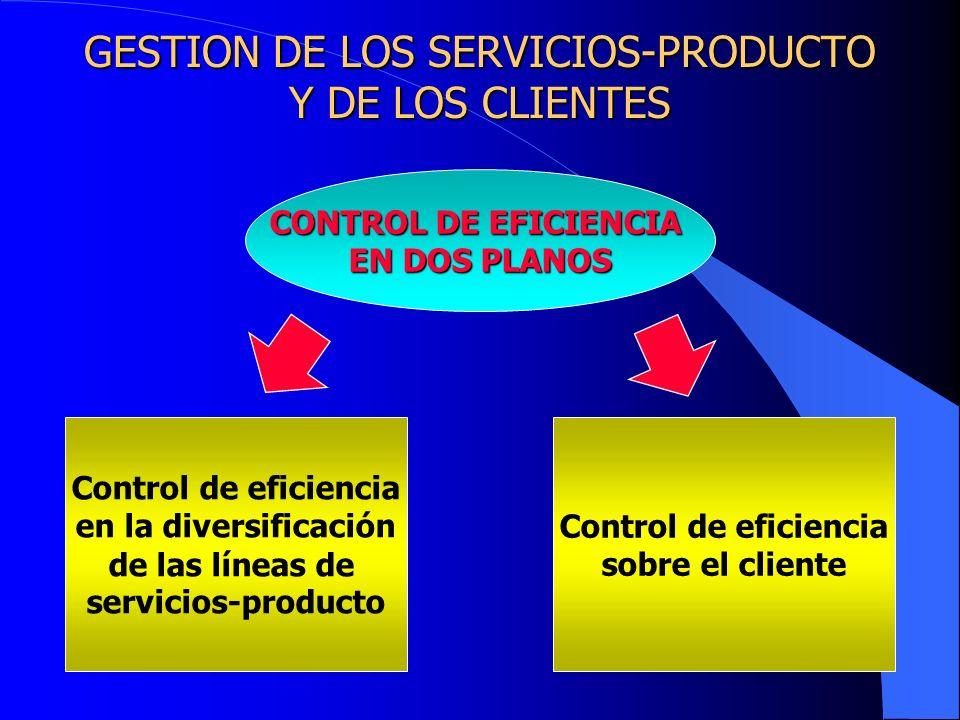 GESTION DE LOS SERVICIOS-PRODUCTO Y DE LOS CLIENTES CONTROL DE EFICIENCIA EN DOS PLANOS Control de eficiencia en la diversificación de las líneas de s