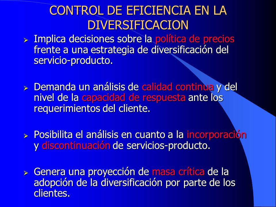CONTROL DE EFICIENCIA EN LA DIVERSIFICACION Implica decisiones sobre la política de precios frente a una estrategia de diversificación del servicio-pr