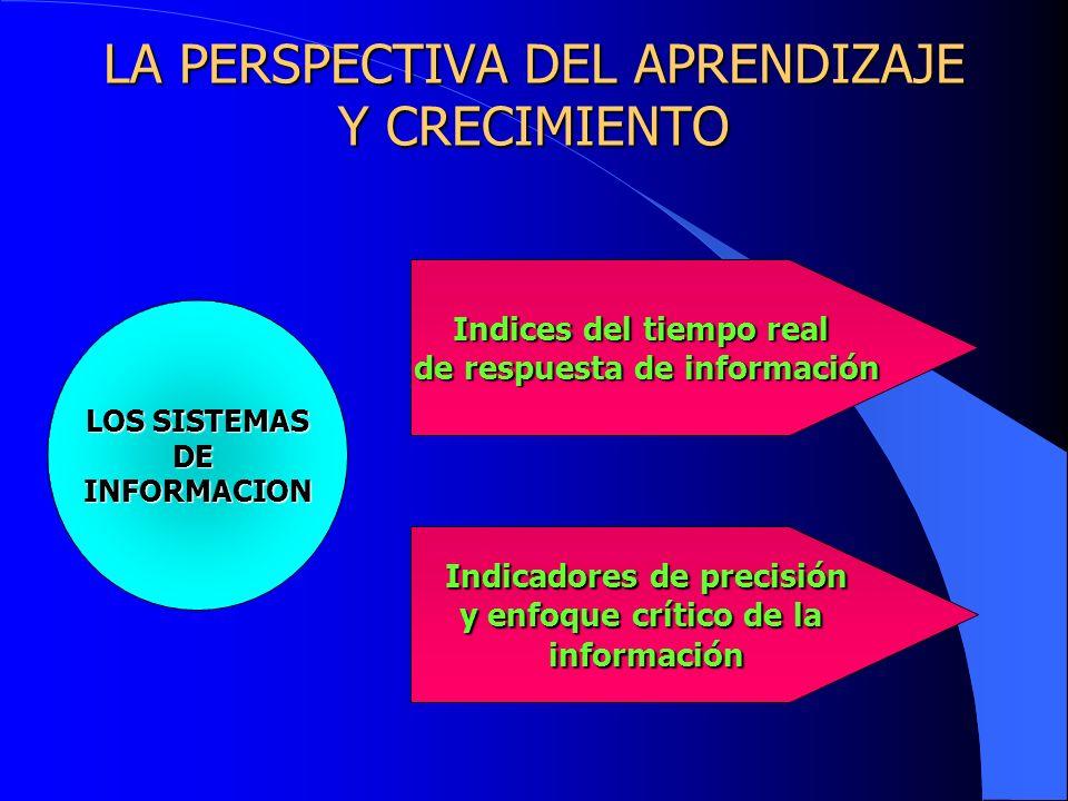 LA PERSPECTIVA DEL APRENDIZAJE Y CRECIMIENTO LOS SISTEMAS DEINFORMACION Indices del tiempo real de respuesta de información Indicadores de precisión y