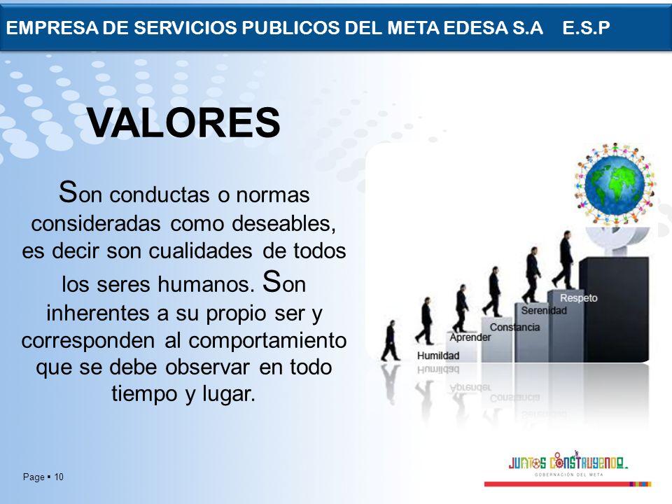 Page 10 EMPRESA DE SERVICIOS PUBLICOS DEL META EDESA S.A E.S.P VALORES S on conductas o normas consideradas como deseables, es decir son cualidades de