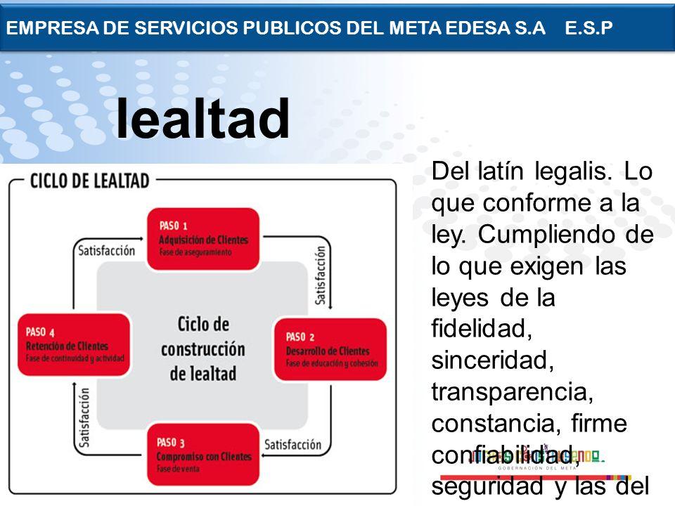 Page 22 EMPRESA DE SERVICIOS PUBLICOS DEL META EDESA S.A E.S.P Del latín legalis. Lo que conforme a la ley. Cumpliendo de lo que exigen las leyes de l
