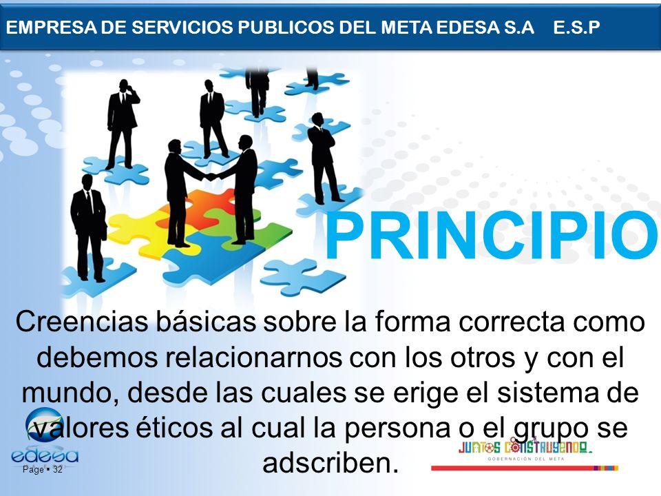 Page 32 EMPRESA DE SERVICIOS PUBLICOS DEL META EDESA S.A E.S.P PRINCIPIOS Creencias básicas sobre la forma correcta como debemos relacionarnos con los