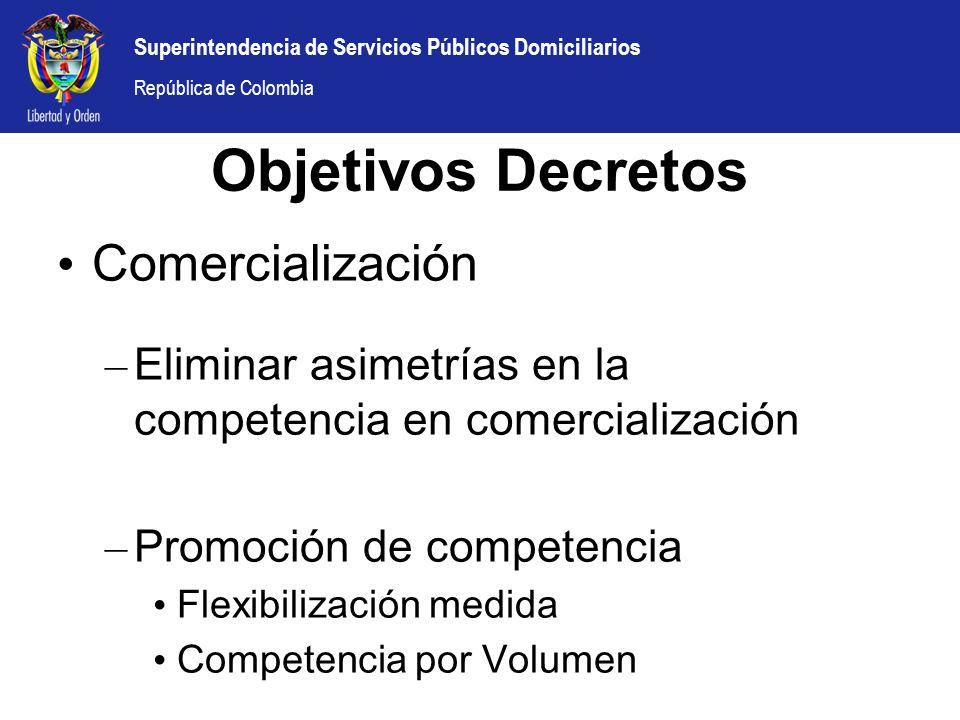Superintendencia de Servicios Públicos Domiciliarios República de Colombia Comercialización – Eliminar asimetrías en la competencia en comercializació