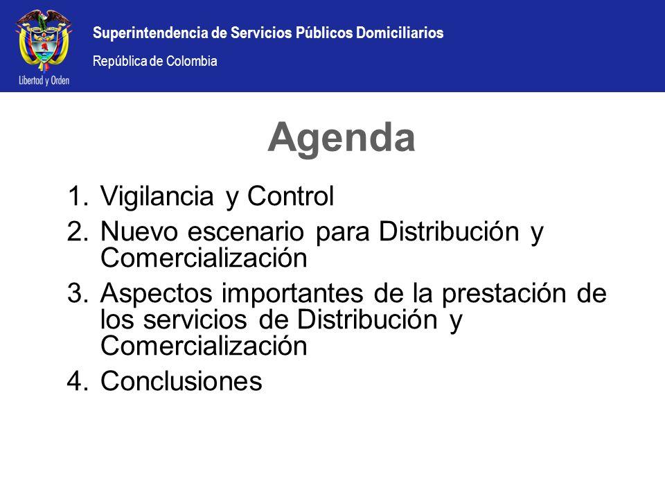 República de Colombia Agenda 1.Vigilancia y Control 2.Nuevo escenario para Distribución y Comercialización 3.Aspectos importantes de la prestación de