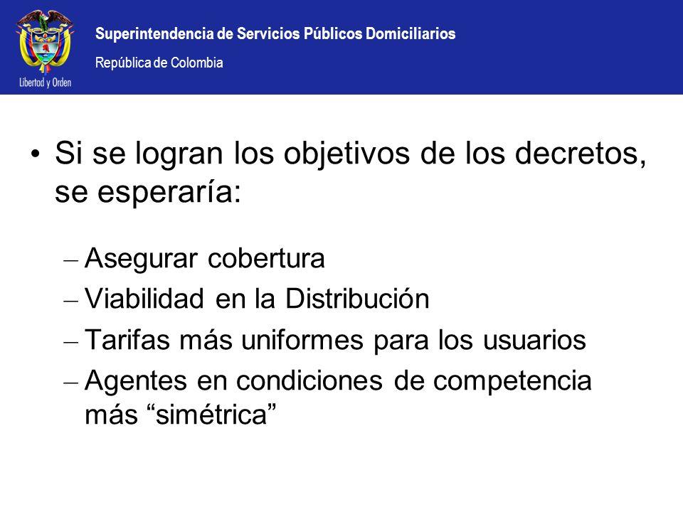 Superintendencia de Servicios Públicos Domiciliarios República de Colombia Si se logran los objetivos de los decretos, se esperaría: – Asegurar cobert