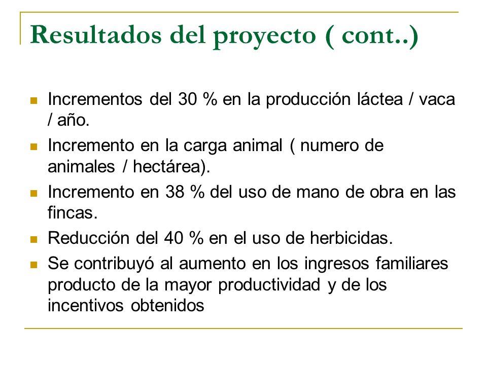 Resultados del proyecto ( cont..) Incrementos del 30 % en la producción láctea / vaca / año.