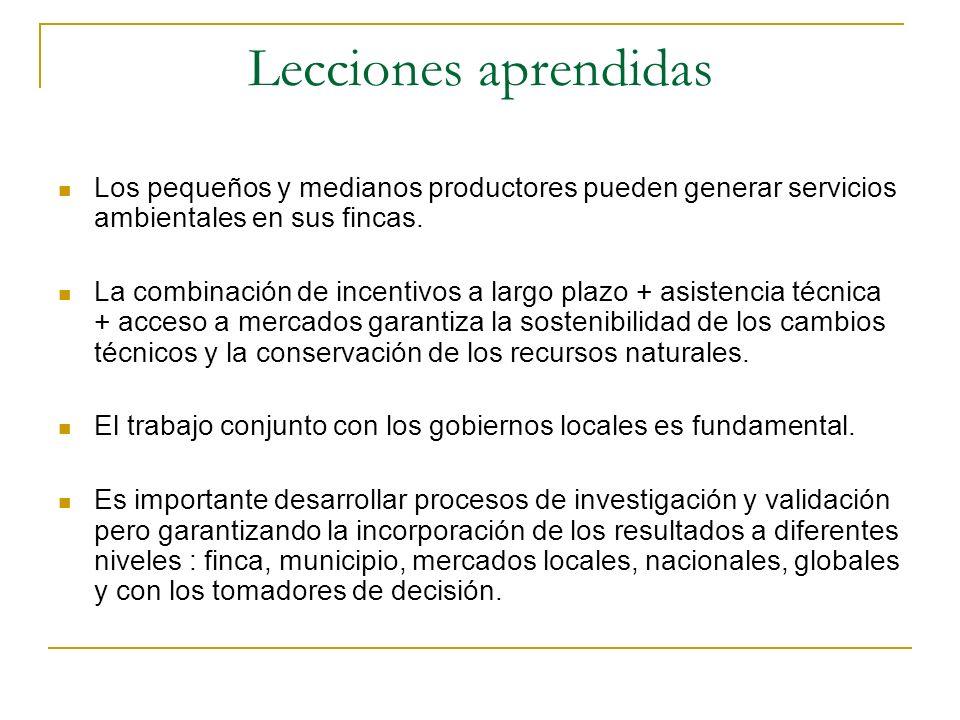 Lecciones aprendidas Los pequeños y medianos productores pueden generar servicios ambientales en sus fincas.