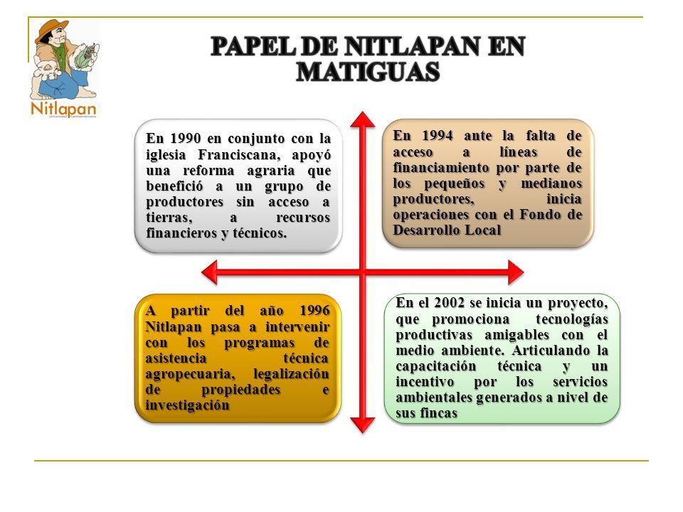 En 1990 en conjunto con la iglesia Franciscana, apoyó una reforma agraria que benefició a un grupo de productores sin acceso a tierras, a recursos financieros y técnicos.